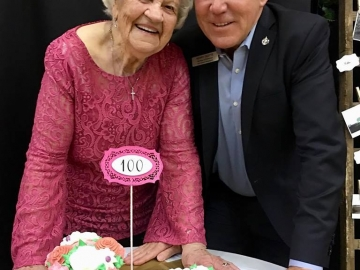 Celebrating the  100th birthday of Amalia (Molly) Fischbach, at the Sturgeon Valley Baptist Church - May 26, 2018