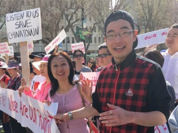 Chinese Benevolent Association rally in Edmonton regarding supervised injection sites - May 6, 2017