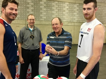 Doing the coin toss for exhibition match between Canada and U.S. Sitting Volleyball teams - May 19, 2018