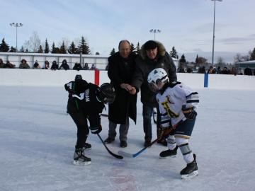 Dropping the puck at the Stan Gantar Memorial Hockey Tournament