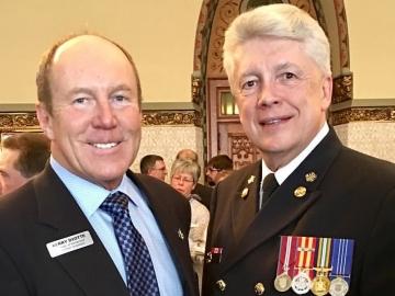 Kerry Diotte with Edmonton Fire Chief Ken Block - Mar. 20, 2017
