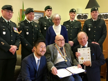 Korean War Veteran Don Shaw receiving the Ambassador of Peace Medal - Mar. 16, 2017