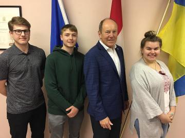Meeting students Maksym Kadziela, Gabriel Sowinski and Olesya Adamyk Canada Summer Job recipients  for the Ukrainian Canadian Congress Alberta Provincial Council - June 8, 2018