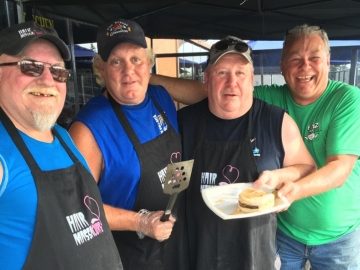 Moe Duval and the boys serving burgers at 02 Joe's 127 St to benefit Fort MacMurray Victims