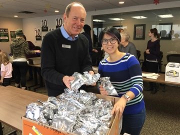 Prepping food for Santa YEG at Boyle Street Community Centre - Dec 23, 2017