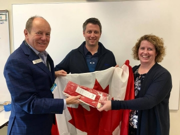 Presenting Canadian flags to the new Ivor Dent School in Edmonton Griesbach - Oct 12, 2017