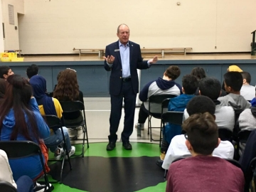 Speaking to students at Killarney Jr. High - Nov. 17 2017