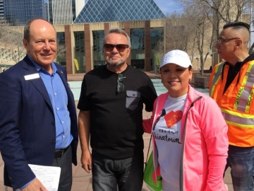 With Counc. Tony Caterina and Sandy Pon at the Chinese Benevolent Association rally in Edmonton regarding supervised injection sites - May 6, 2017