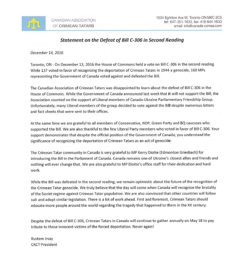canadian-association-of-crimean-tatars-statement-on-the-defeat-of-bill-c-306-in-second-reading