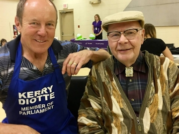 Meeting Norman MacDonald who bought a house in the community in 1956 (62 years ago) and still lives in it. At the Athlone community pancake breakfast - July 7, 2018