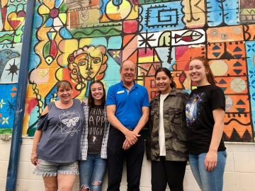 Meeting up with summer students (and Executive Officer Miri Peterson) who are working hard at Crystal Kids Youth Center - August 15, 2018