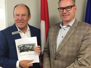 Meeting with Ben Gardner about his Agora Borealis concept to repurpose Northlands Coliseum for housing for 700 families, seniors and students - July 10, 2018