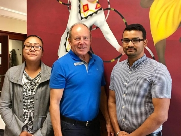 Meeting with summer students Brittany and Hari who helped run a summer camp for Creating Hope Society - August 14, 2018