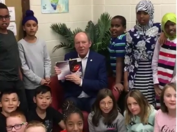Reading to Grade 6 students at John Barnett Elementary School. Smart kids. Thanks for the nice card. Keep on reading - October 26, 2018