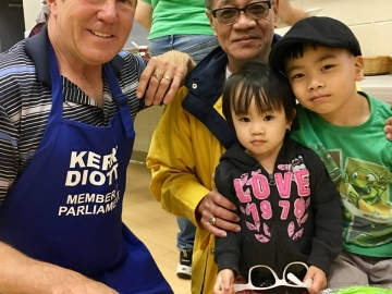 Serving pancakes at the Athlone community pancake breakfast - July 7, 2018