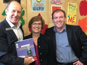 Kerry Diotte with VP Mr. Connelly and Ms Fedyna from Balwin School after talking to students in civics class