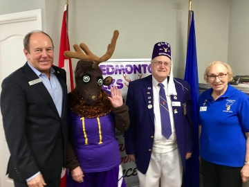 "With ""Eddie the Elk"" of the Edmonton Elks Lodge 11. Thanks Nikki and David Allan and Lillian Skears for all the charitable work you do - Nov. 3, 2018"