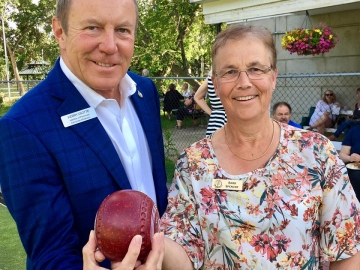 With Enjoyed officiating at the Highlands Lawn Bowling Centennial with Club President Barb Spencer - June 29 2018